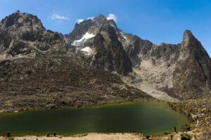 Mt. Kenya as viewed from a bank of lake